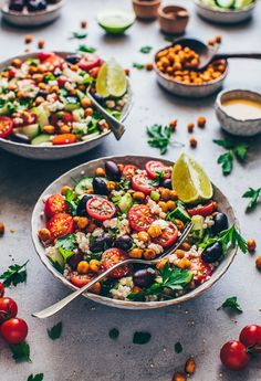 Mediterranean chickpea salad with couscous and tahini dressing recipe. Mediterranean chickpea salad with couscous and tahini dressing recipe. Tahini Dressing, Salad Recipes Healthy Vegetarian, Healthy Dinner Recipes, Mediterranean Chickpea Salad, Mediterranean Recipes, Rice Recipes For Dinner, Evening Meals, Couscous Salad, Healthy Vegetarian Recipes