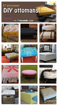 The coke bottle crate turned ottoman is such a creative (and affordable) idea! I love these ottoman ideas