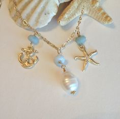 Come sail away amazonite pearl and gold necklace by elementsinspired, $39.00