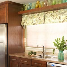 Make a Small Kitchen Look Larger ¦ shelf over window with top valance, love it!