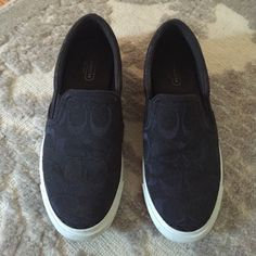 coach slip on sneakers Black Coach slip on sneakers. Super comfortable. Worn a decent amount but still in great condition. True to size. No blisters! Coach Shoes Sneakers