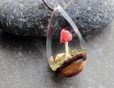 Resin Wood Necklace Terrarium Necklace Landscape Pendant