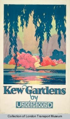 Kew Poster 1983 - Poster and Artwork from The London Transport Museum. Train Posters, Railway Posters, Kew Gardens London, London Transport Museum, Public Transport, London Poster, Nostalgia, Kunst Poster, Vintage London