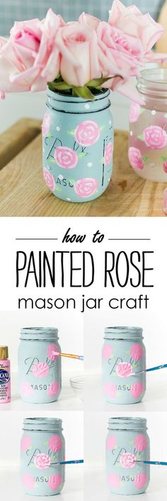 Painted Rose Mason Jar Craft - How to Sprint a Rose - Mason Jar Craft Ideas . - Diy Crafts - Painted Rose Mason Jar Craft – How to Sprinkle a Rose – Mason Jar Craft Ideas … - Pot Mason Diy, Mason Jar Gifts, Mason Jar Party, Mason Jar Vases, Jar Crafts, Bottle Crafts, Rose Crafts, Flower Crafts, Diy Hacks
