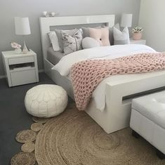 45 Cute And Girly Pink Bedroom Design For Your Home - bedroom - Pink Bedroom Design, Dusty Pink Bedroom, Blush Bedroom, Dusty Pink Bedding, White And Pink Bedding, Pink And Grey Room, Pink White, White Girls, Design Design