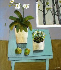 Bramley Apples with Orchid by British Contemporary Artist Este MacLEOD
