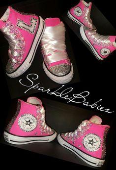 db2bb49d9 Schuhe Damen Sportlich - Custom Bling Initial Converse Chuck Taylors   SparkleBabiez