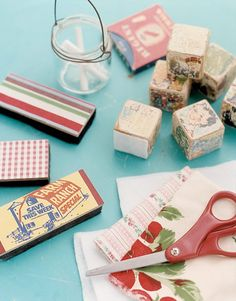 Transform your erasers from dull to delightful. Glue scraps of vintage fabric, wallpaper, and old ads to the backs of standard erasers for retro appeal. Cheerful children's blocks are reinvented as erasers simply by gluing a piece of felt to one side.  - WomansDay.com