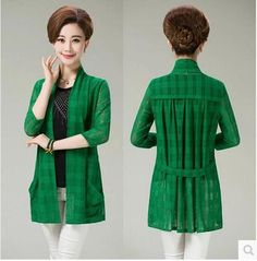 new 2016 spring and summer casual middle-aged women lace three quarter knitting cardigan loose plus size 5XL long shirt AE1430