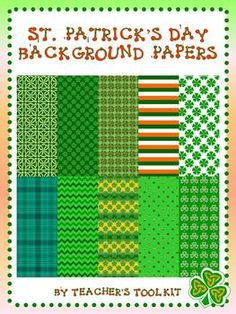 St. Patrick's Day Digital Background Papers Clip Art Commercial Use ok $3.00