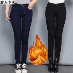Women Casual Blue Black Skinny Jeans Winter Velvet Slim Warm High Waist Jeans Woman Stretch Pencil Denim Pants Plus Size Cheap Jeans, Black Skinnies, Denim Pants, High Waist Jeans, Winter, Skinny Jeans, Plus Size, Clothes For Women, Casual