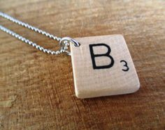 Items similar to Scrabble Letter Necklace. Custom Initial Necklace. Eco Friendly Personalized Letter A B C D E F G H I L N O P Q R S T U V W X Y Z Necklace. on Etsy
