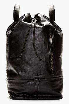 Tiger Of Sweden Black Leather Aitoeri Backpack