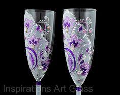Purple wedding glasses Toasting flute set by InspirationsArtGlass