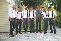 Love this!! The groomsmen wear suspenders (No tie or bow tie ) and the groom wears a vest!! Great way to keep it casual yet classy ! And plus you don't have to pay for tuxes ;)