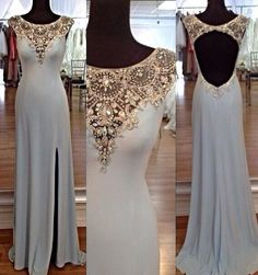 Charming sequins rhinestones Round Neck Long Prom Dresses, Evening Dresses, Long PromDresses - Sweetheart Girl Store Dresses