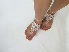 You can make this barefoot sandals by using any type of lace thread. I love this design and I worked barefoot sandals with this. This stitch is much easier to learn when you have pictures to see what loop(s) they're talking about. Enjoy!