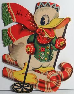 Walt Disney Donald Duck on Candy Cane Skis Vtg Die Cut Christmas Card 1651 Vintage Greeting Cards, Christmas Greeting Cards, Christmas Greetings, Vintage Postcards, Holiday Cards, Christmas Past, Disney Christmas, Retro Christmas, Christmas Deco