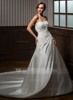 Ball-Gown Sweetheart Cathedral Train Satin Wedding Dress With Lace Beading (002000254) - JJsHouse