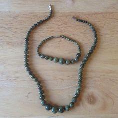 Serpentine Necklace set with bracelet. Genuine Russian Serpentine Stones. Graduated. One off | eBay