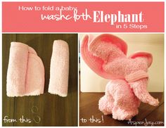 How to make a baby washcloth elephant in just 5 easy steps. These are so adorable and tiny!