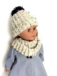 18 Inch Doll Hat and Infinity Scarf, Aran Fleck Off White by DonnaDesigned