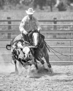 Russell Dilday in action! #performance #horse #horses #horselove #horsepower #horsephotos #horsephotography #cow #bull #workingcowhorse #nrcha #blackandwhite #blackandwhitephoto #action #fast #chasing #spots #clinic #tristandark #tristandarkofficial #tristandarkphotography #reins #reiner #reining #reininghorse #nrha #quarterhorse #aqha