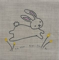 Cotton tail bunny embroidery, so sweet ! Baby Embroidery, Simple Embroidery, Hand Embroidery Patterns, Vintage Embroidery, Cross Stitch Embroidery, Machine Embroidery, Broderie Simple, Cross Stitching, Needlework