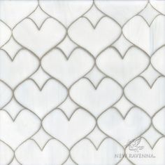 Hearts, a glass waterjet mosaic shown in Moonstone | The Erin Adams Collection for New Ravenna