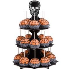 Creepy Crispy Rice Treats - Your Halloween party guests will love exploring these web bites—cereal treat spider webs coated with glowing orange Candy Melts and silver-colored Jimmies. They're even more fun sitting on our spooky Halloween Cupcake Stand! Halloween Desserts, Halloween Cupcakes, Halloween Candy Apples, Halloween Goodies, Halloween Food For Party, Halloween Treats, Spooky Halloween, Halloween Chocolate, Scream Halloween