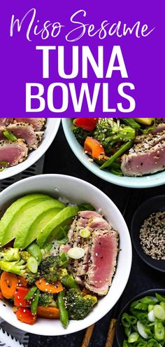 These Miso Sesame Tuna Rice Bowls are filled with seared ahi tuna, stir fry veggies in a savoury miso sauce, jasmine rice and sliced avocado! #sesametuna #ricebowls Tuna Rice, Seared Ahi, Veggie Stir Fry, Jasmine Rice, Rice Bowls, Clean Eating Recipes, Whole Food Recipes, Fries, Avocado