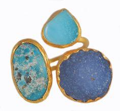 Three Stone Ring: Turquoise, Aquamarine & Chalcedony