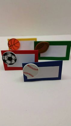 Sports party! Use these adorable paper cards to label your sports themed food or write a childs name to use as as a place setting card. Either way