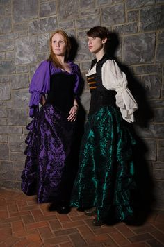 Romantic Black Velvet Accented Taffeta by SilverLeafCostumes, $115.00