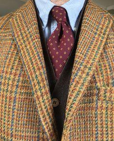 Vintage 3/2 Diplomat Harris Tweed, Brooks Brothers OCBD, Hilditch & Key silk tie (England), Vintage W. Bill Ltd. of London cashmere sweater vest w/MOP buttons (Scotland).