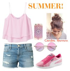 """SUMMER! 🏖🏝☀️"" by carolina-herrera0 on Polyvore featuring moda, MANGO, Frame Denim y Puma"