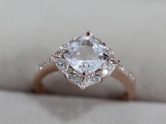 VS 7mm Morganite Ring Cushion 14K Rose Gold Morganite Wedding Ring Diamond Engagement Ring Anniversary Ring Gemstone Ring