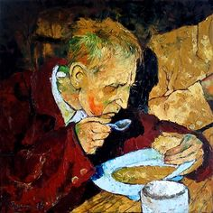 Veen 2014 -Soup man Oil on canvas 50x50