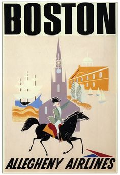 1950s Allegheny Airlines Boston MA Travel Poster