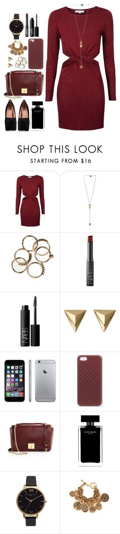 """//going out tonight, changes into something red//"" by ale-directioner-16 ❤ liked on Polyvore featuring Glamorous, NARS Cosmetics, Gucci, Marc Jacobs, Narciso Rodriguez, Olivia Burton, Oscar de la Renta and Dolce Vita"