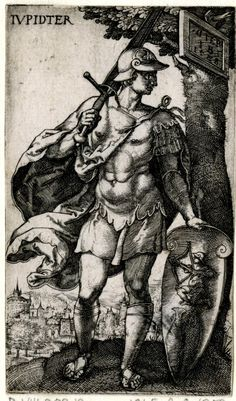 Jupiter from a series of The Seven Planets. In frontal view, the head in profile to right; dressed as an antique warrior; representations of Sagittarius and Pisces on the shield in his left hand; from a series of seven engravings of the planetary gods as whole-length figures standing in landscapes with symbols of their respective signs of the Zodiac. 1528 Engraving Print made by: Monogrammist IB School/style: German Date: 1528 Materials: paper Technique: engraving  Signed with monogram and…