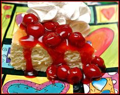 CHEESECAKE TOPPED WITH CHERRIES & WHIPPED CREAM - Hugs and Cookies XOXO