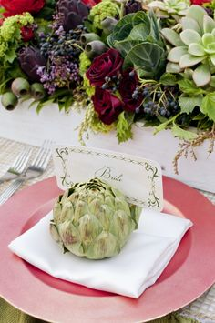 Artichoke Place Card - use a piece of fruit or veggie that's in the dish, as a place card holder.