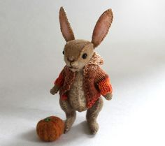 Bunny Rabbit, halloween pumpkin OOAK Artist Jointed Bear Emma Hall Elouise Bears