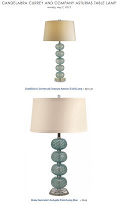 CANDELABRA CURREY AND COMPANY ASTURIAS TABLE LAMP vs HOME DECORATOR'S LAFAYETTE TABLE LAMP
