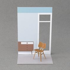 1:16 mini museum / paper models of chair and interior, which you assemble from flat-pack post card size.  This is model 003 Butterfly chair - designed by Lucian Ercolani for Ercol in 1957.