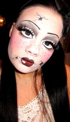 Broken Doll Halloween Makeup Ideas                                                                                                                                                                                 More