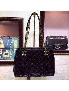 Chanel Black Patent Calfskin Large Shopping Bag Paris-Salzburg 2014/15