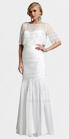 Sheer Sleeve Mermaid White Gowns from The White Collection by Mignon $598