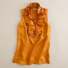 J.Crew Silk Frances Cami Ruffled silk top by J.Crew in a rich goldenrod color. Ruffles stay nice and full all day. Great condition except for small slightly darker spots that dry cleaner was unable to get out (last picture). Completely unnoticeable if shirt is tucked in. J. Crew Tops Camisoles